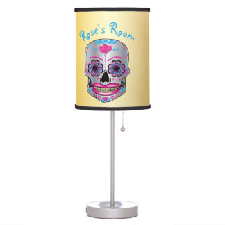 Custom Text gold Rose Candy Skull Lamp