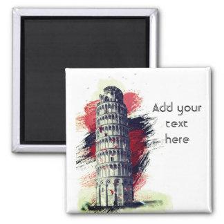 Custom Text Leaning Tower of Pisa Travel Fridge Magnet