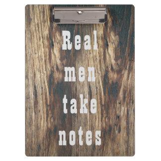 Custom text manly far west woodgrain clipboard