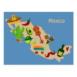 Custom text MEXICO cultural map postcard