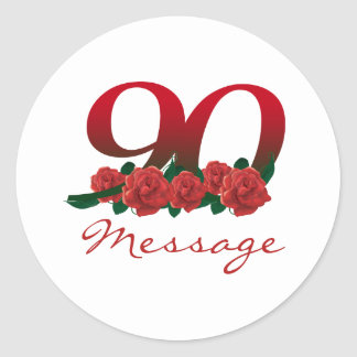 Custom text name 90th birthday number classic round sticker