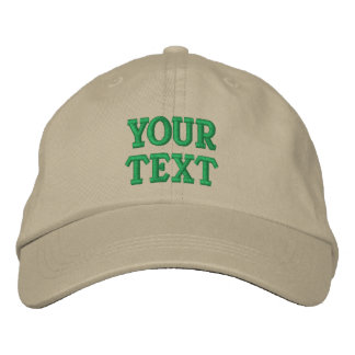 Custom Text, Name, Logo Khaki Adjustable Embroidered Hat