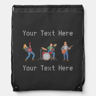 Custom Text Old School Rock Cinch Bag