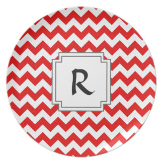 Custom Text or Monogram on Red Chevrons Party Plates