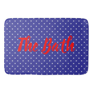 Custom Text Patriotic Red White and Blue Bath Mat
