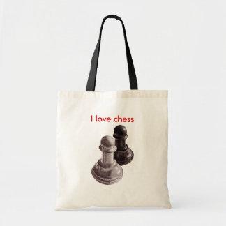 Custom Text Pencil Drawn Pawns Love Chess Tote Bag