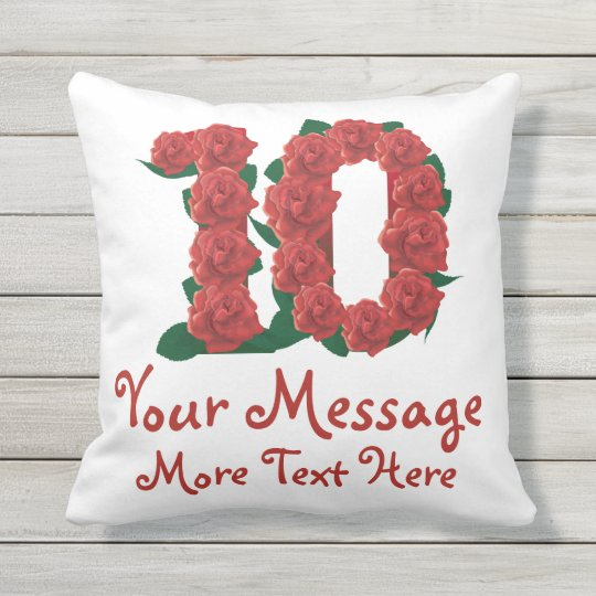 Custom text personalized 10th anniversary Pillow