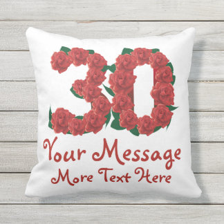Custom text personalized 30th birthday 30 Pillow