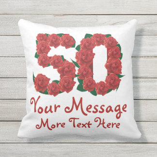 Custom text personalized 50th birthday 50 Pillow
