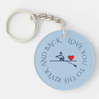 Custom text photo double-sided light blue rowing keychain