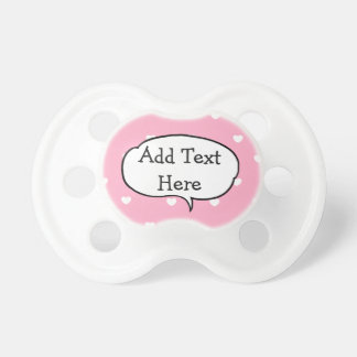 Custom Text Pink and White Heart Baby Pacifier