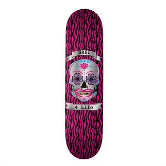 Custom Text Pink Zebra Rose Candy Skull Deck Skate Board