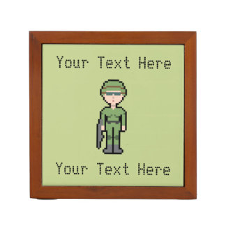 Custom Text Pixel Female Soldier Pencil/Pen Holder