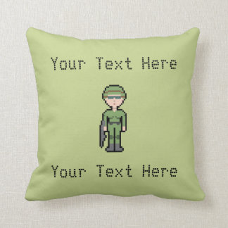 Custom Text Pixel Female Soldier Pillow
