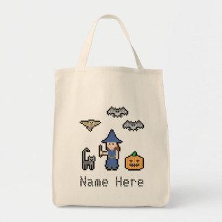 Custom Text Pixel Halloween Grocery Tote Bag