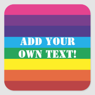 Custom Text Rainbow Stripes Sticker