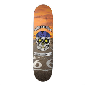 Custom Text Route 66 Motorcycle Candy Skull Deck Skate Board Deck
