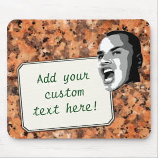 Custom Text Shout on Spotted Rock Surface Mouse Pad