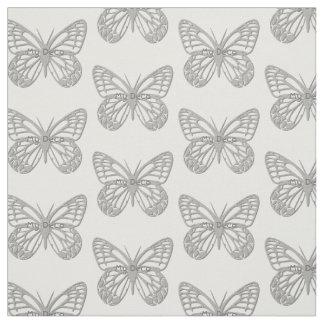 Custom Text Silver Grey Art Deco Butterfly Pattern Fabric