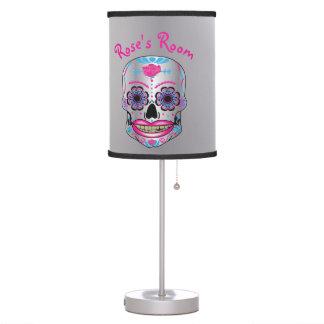 Custom Text Silver Rose Candy Skull Lamp