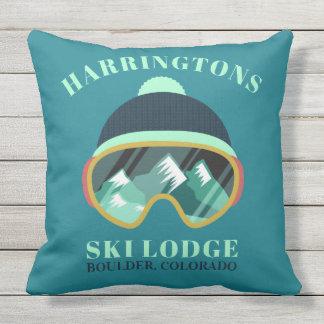 Custom Text Ski Mask throw pillows