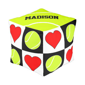 Custom Text Tennis Balls & Hearts Checkered Pouf