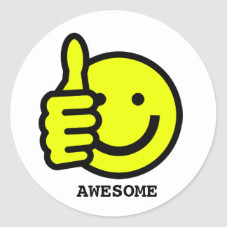 Custom Text Thumbs Up Yellow Smiley Face Sticker