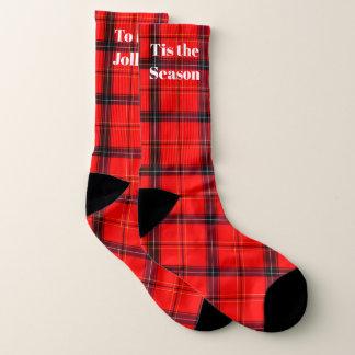 Custom Text Tis the Season Red Plaid Holiday Socks 1