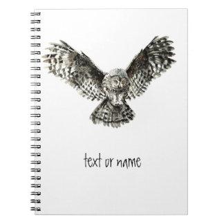 Custom Text, Watercolor Owl, Bird Animal, Nature Spiral Notebook