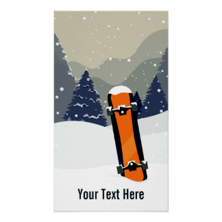 Custom Text Winter Snowboarding poster