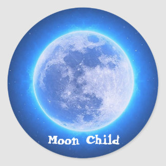 Custom Text Zodiac Cancer Blue Moon Child Sticker