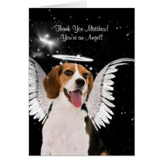 Custom Thank You Beagle Angel Dog Card