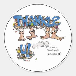 Custom Thank You Feet Classic Round Sticker