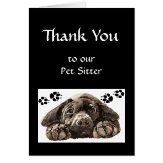 Custom Thank You Greeting, Pet,Labrador Dog Sitter Card