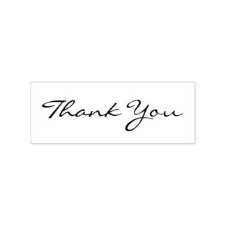 Custom Thank You Modern Chic Elegant Wedding Wood Rubber Stamp