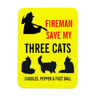 Custom Three Cat Fire Safety Magnet
