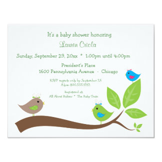 Custom Three Little Birds Baby Shower Invitation