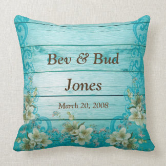 Custom Throw Pillow Anniversary Turquoise Flowers
