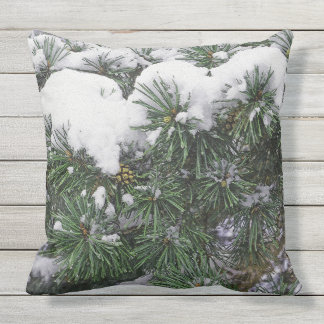 CUSTOM THROW PILLOW/ EVERGREEN BRANCHES WITH SNOW THROW PILLOW
