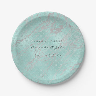 Custom Tiffany Gray Hearts Silver Marble VIP Paper Plate