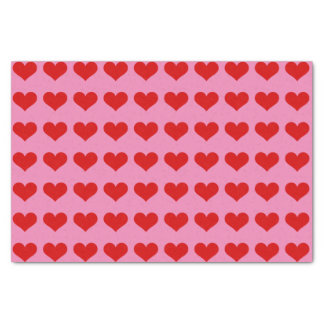 Custom Tissue Paper with Red Hearts on Pink