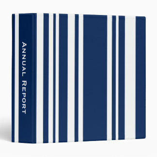 Custom Title—Varied Navy and White Stripes Binders