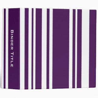 Custom Title—Varied Purple and White Stripes 3 Ring Binder