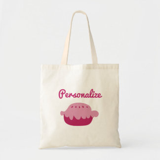 Custom tote bag with cute pink pie design