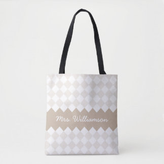 Custom Tote Bag with Your Name, argyle