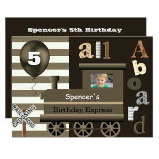 Custom Train Birthday Party Invitation