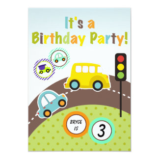 Custom Transportation Birthday Party Invitation