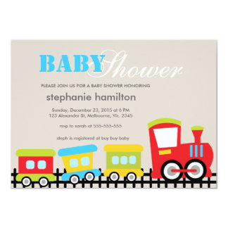 Custom transportation train baby boy shower card