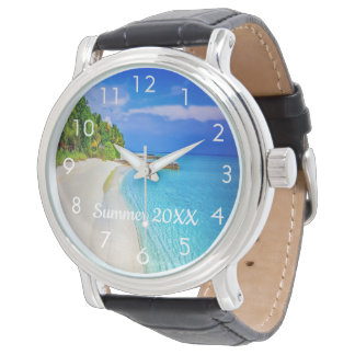 Custom travel and vacation photo watch with text