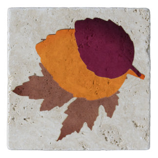 Custom Travertine Stone Trivet with Autumn Leaves
